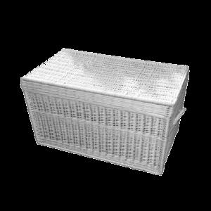 biały kufer z wikliny