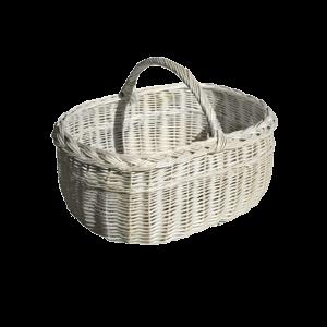 Duży koszyk na zakupy WIKLINOWY z wikliny BIAŁY