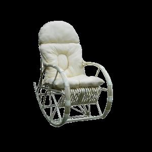 biały fotel bujany z wikliny - duży z poduszką