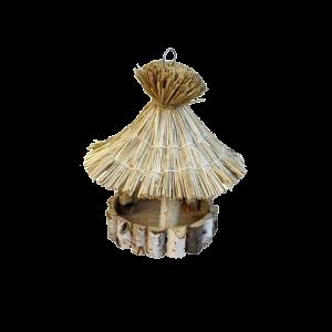 Karmnik z drewna dla ptaków DREWNIANY DOMEK słoma