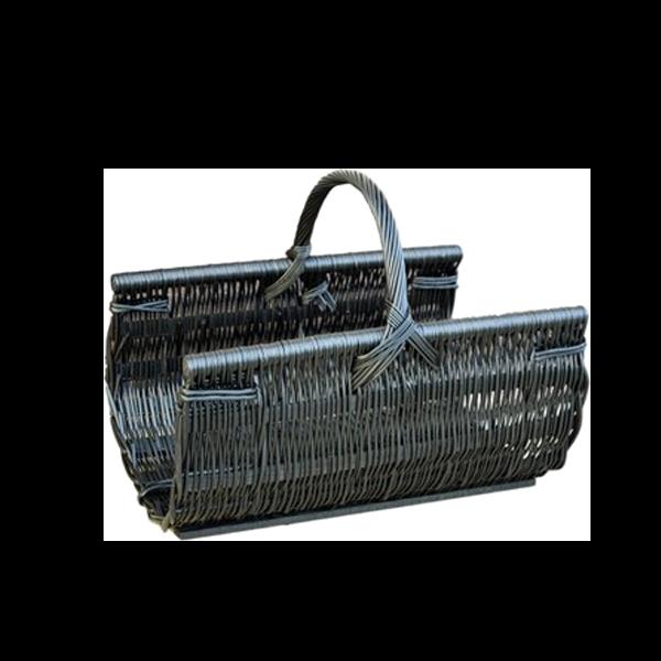 Koszyk na drewno do kominka KOMINEK wikliny WENGE + obszycie