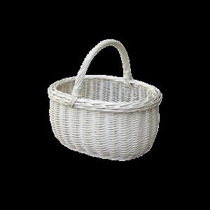 Koszyk na zakupy WIKLINOWY z wikliny piknik BIAŁY