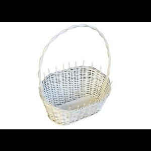 Koszyk z białej wikliny na kwiaty, prezent średni NIE MALOWANY FARBĄ