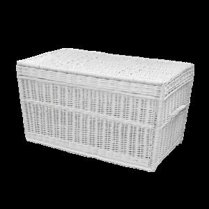 biały kufer z naturalnej wiklinowy prosty KUFEREK z wikliny