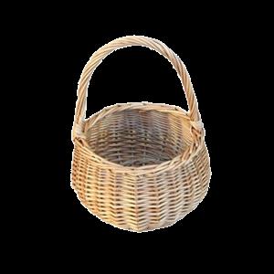 Okrągły koszyk wiklinowy na wielkanoc święconke