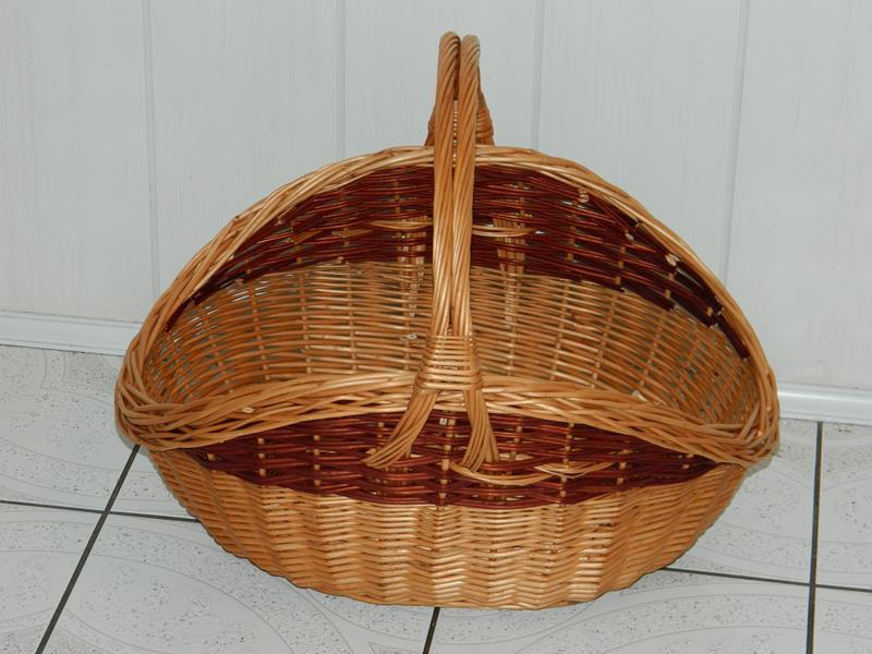 Koszyk wiklinowy na drewno do kominka KOMINKOWY L