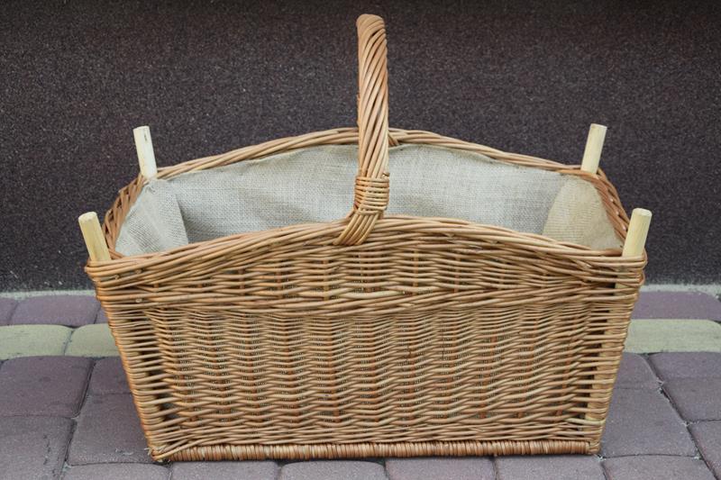 B. wytrzymały koszyk na drewno do KOMINKA + JUTA