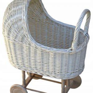 wózek dla lalek z wikliny biały