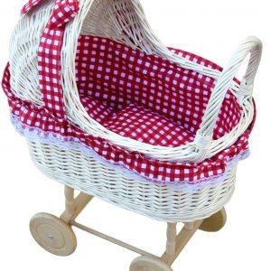 wiklinowy wózek dla lalek biały
