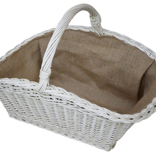 koszyk wiklinowy na drewno do kominka - biały