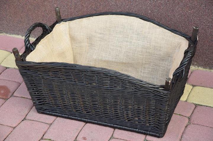 Koszyk na drewno do kominka KOMINEK WENGE + JUTA