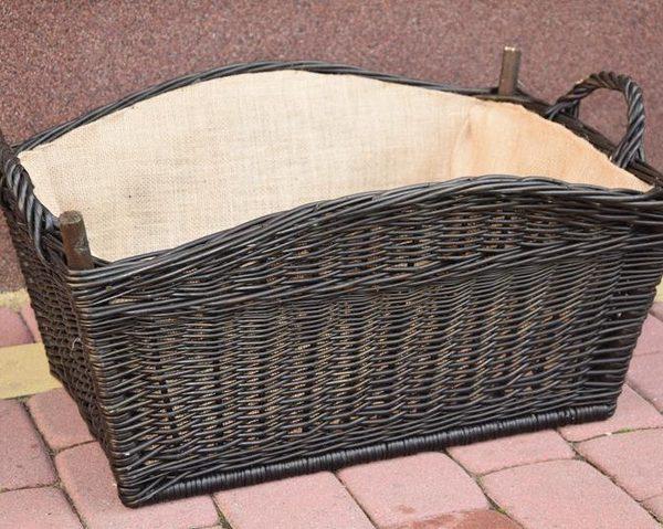 koszyk wiklinowy na drewno do kominka