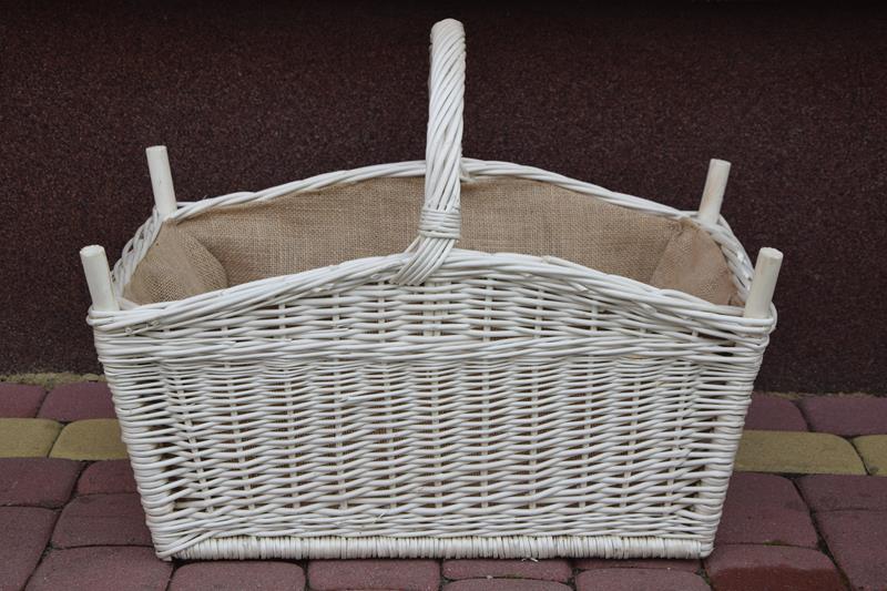 Koszyk na drewno do kominka KOMINEK BIAŁY + JUTA