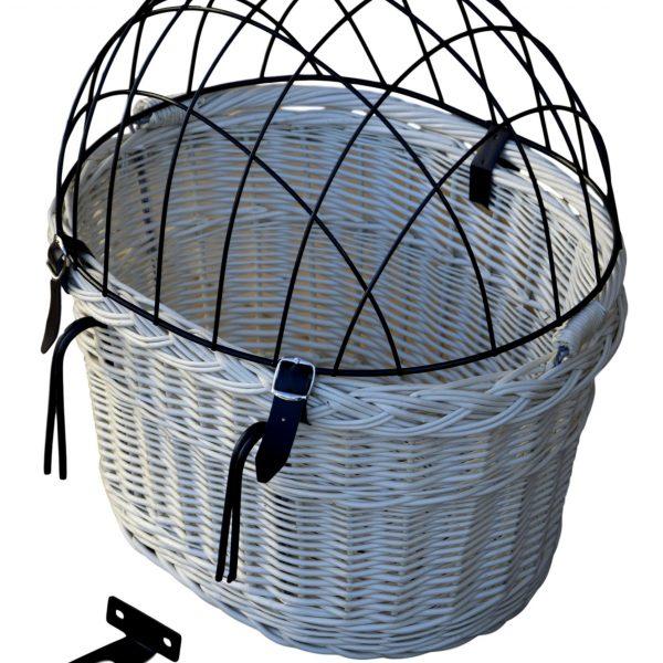 wiklinowy koszyk na rower dla psa dla kota - biały