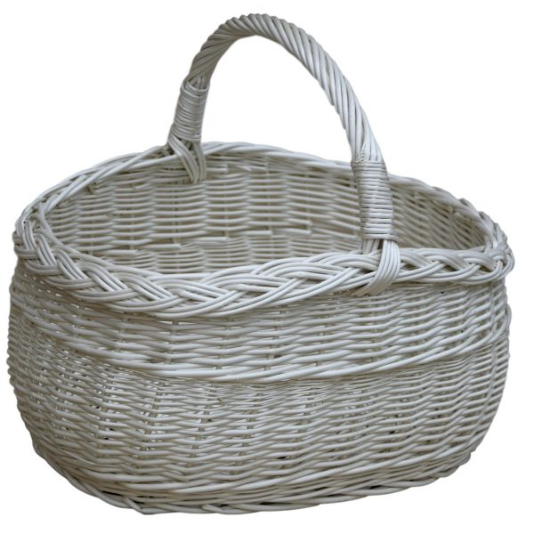 wiklinowy kosz na zakupy - piknikowy - biały